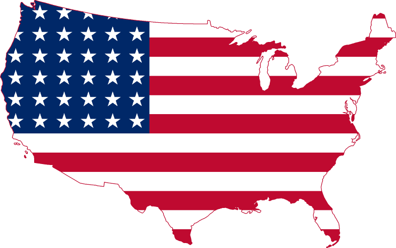 US flag in the shape of a map of the US