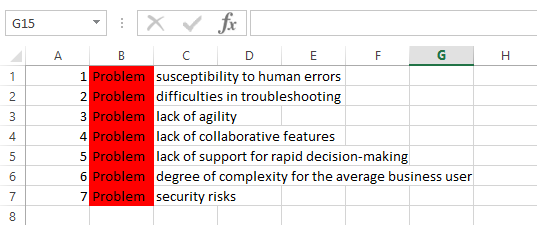 7 problems with spreadsheets